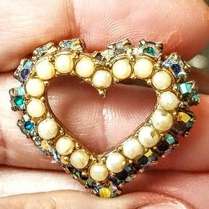 Vintage Aroura Borealis and pearl brooch/pin